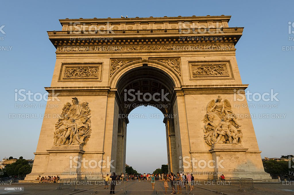 Crowds of tourists admiring the Arc de Triomphe royalty-free stock photo