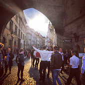 Prague, Czech Republic - May 2, 2015: Crowds of tourists in Prague old town