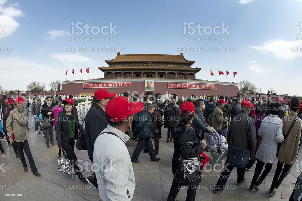 Crowds of visitors at Tiananmen (Gate of Heavenly Peace), Beijing royalty-free stock photo