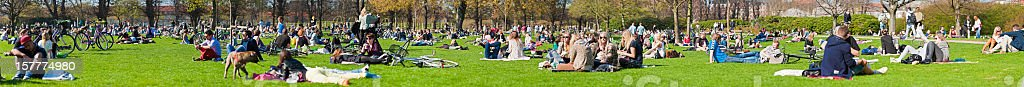 Crowds of young people enjoying sunshine park panorama royalty-free stock photo