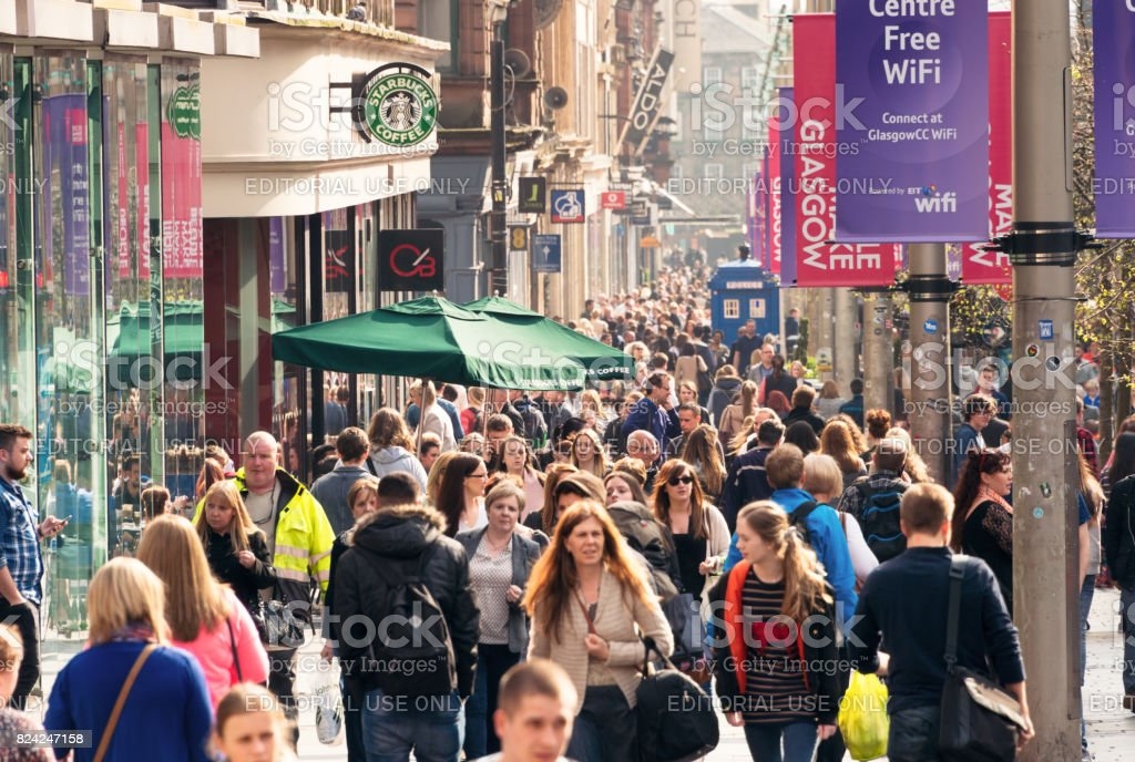 Crowds on Buchanan Street in central Glasgow, Scotland stock photo