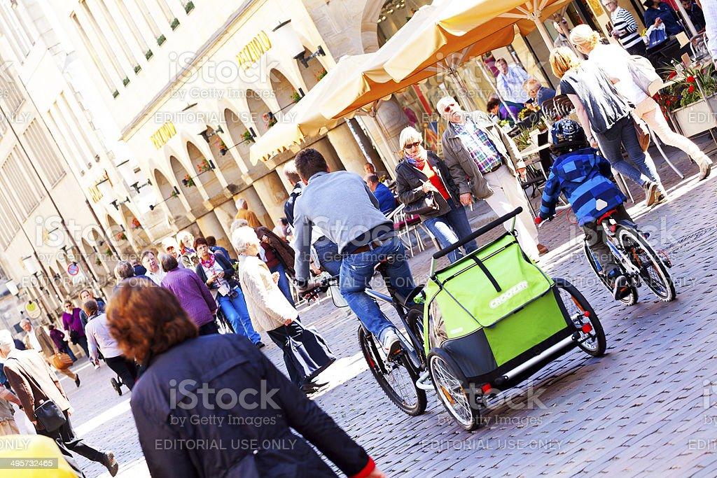 Crowdy pedestrian zone of Münster stock photo