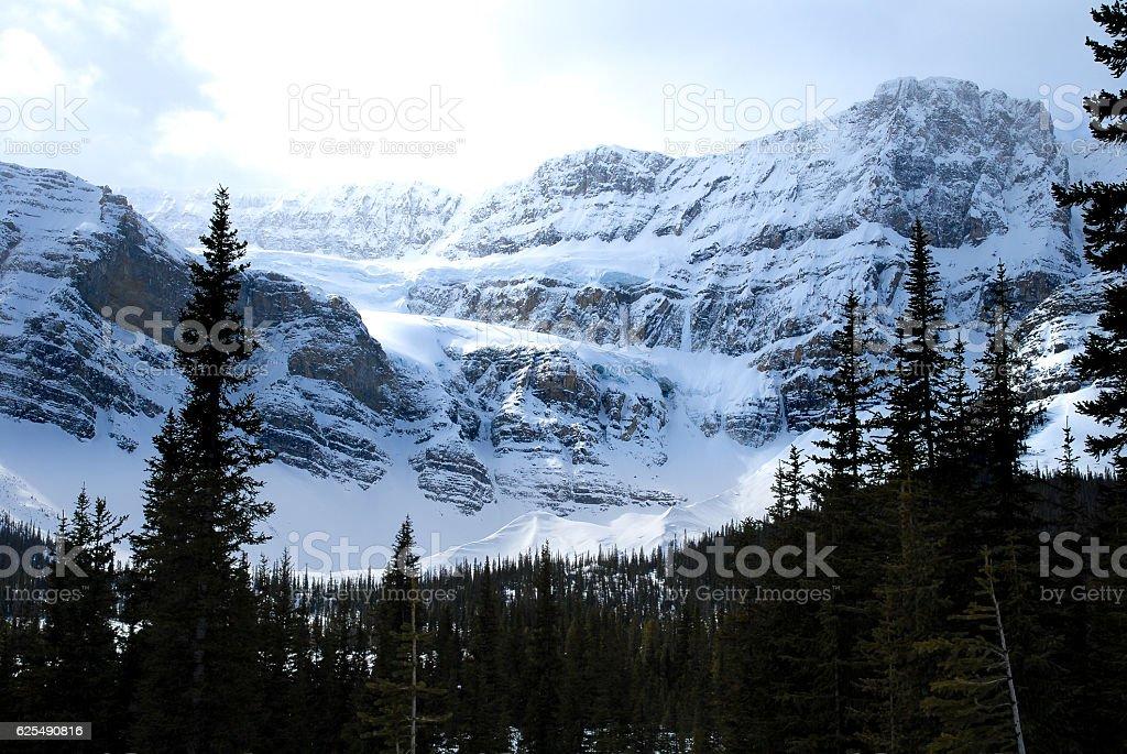 Crowfoot Glacier in Winter, Canadian Rockies, Alberta, Canada stock photo