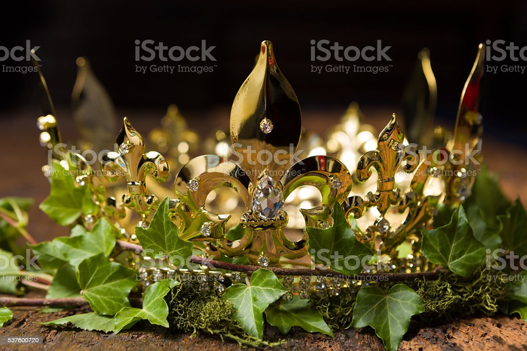 Crown and ivy stock photo