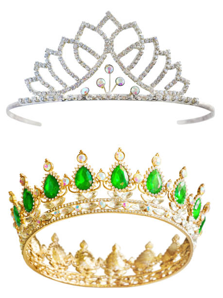 Crown and Tiara Isolated Crown and Tiara Isolated on White Background. Royal Expensive Jewelry Set. Golden Crown for King and Tiara for Queen with Precious Stones diademe stock pictures, royalty-free photos & images