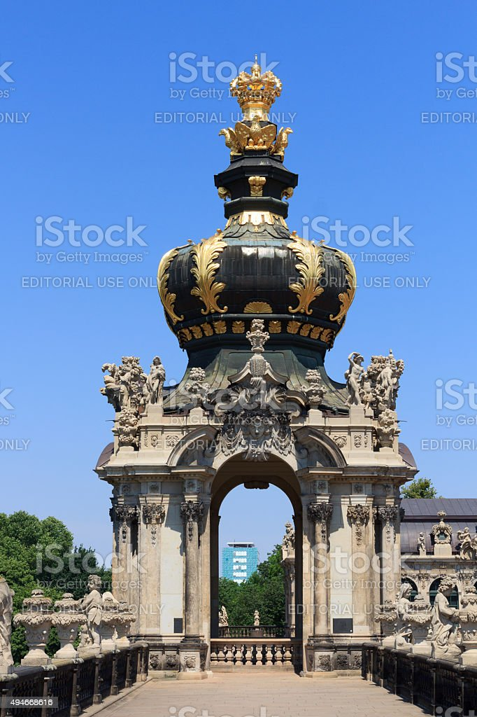 Crown at gate Kronentor at palace Zwinger, Dresden stock photo