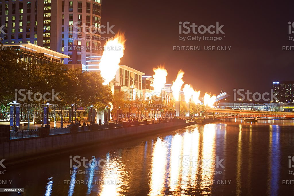 Crown Casino fire show at night stock photo