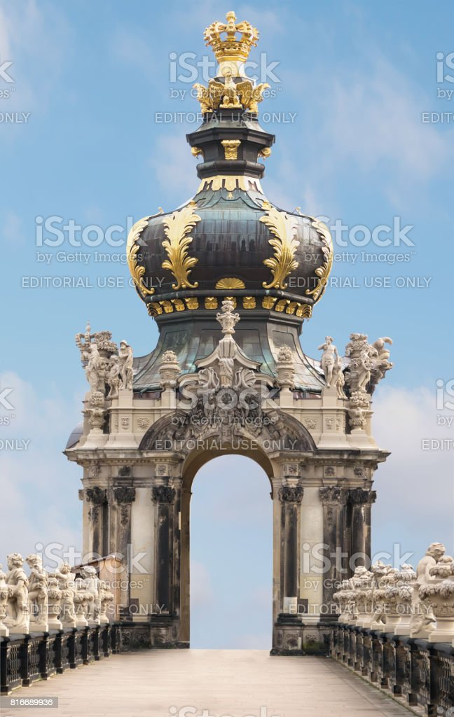 Crown Gate auf blue sky background. Zwinger, palace in baroque style. Travel photo stock photo