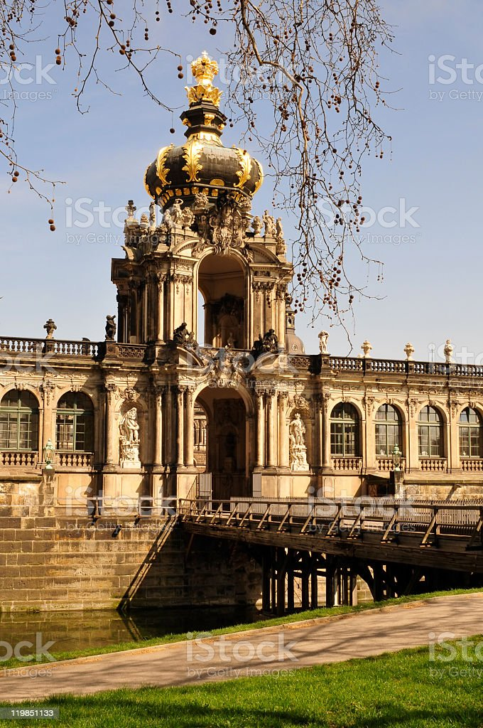 Crown gate of Dresdens Zwinger, Germany stock photo