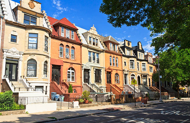 crown heights townhouses - terraced houses stock photos and pictures
