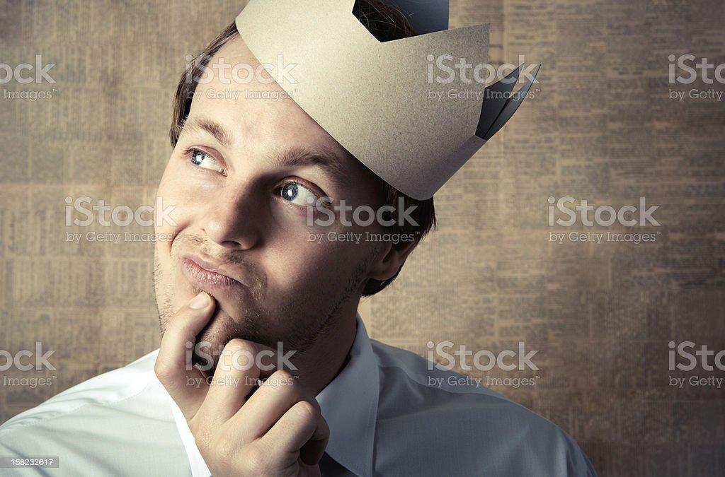Crown king thinking stock photo