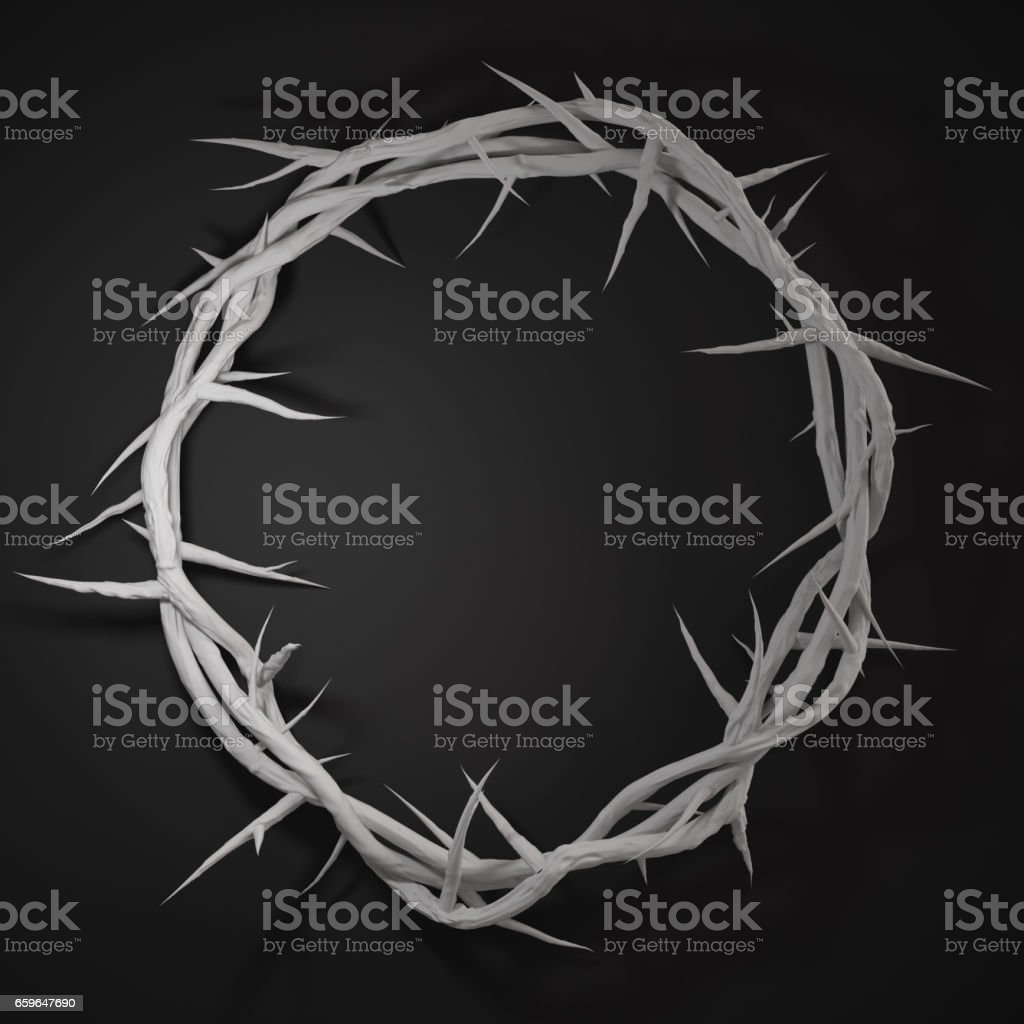 Crown of Thorns 3D Rendering Centre From Above Empty Space Dark Background stock photo