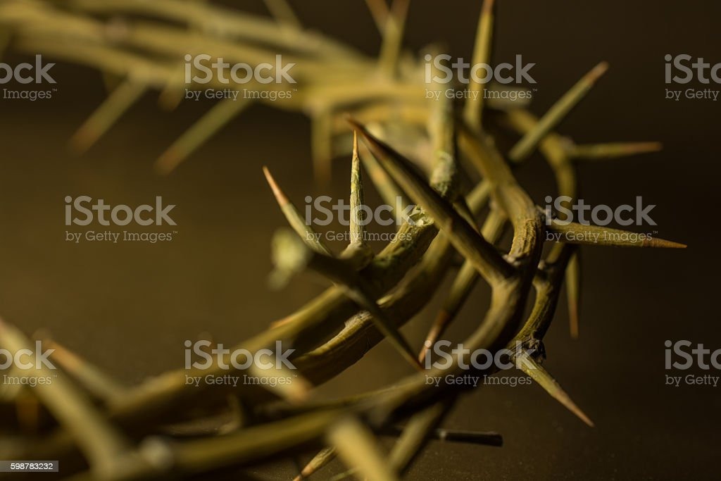 Crown of thorns and Crucifix with copy space stock photo