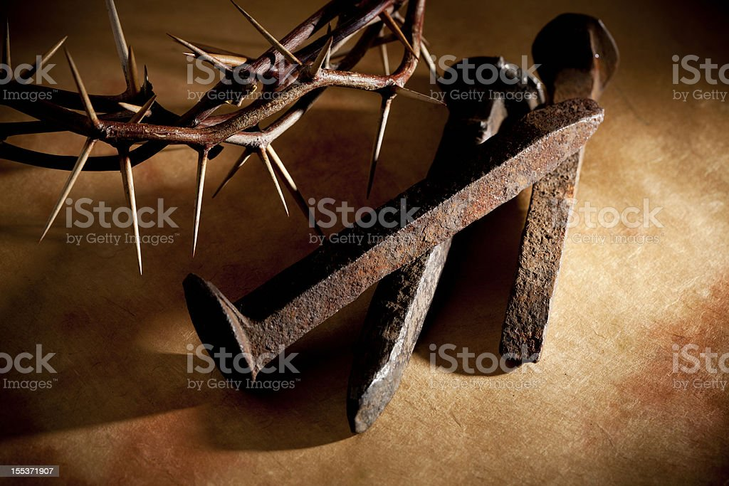 Crown of Thorns and Nails on Grunge stock photo