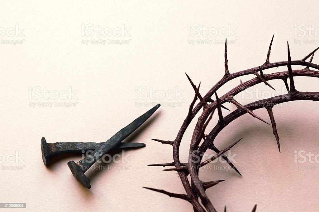 Crown of Thorns and Nails stock photo