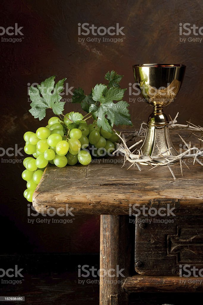 Crown of thorns and wine royalty-free stock photo
