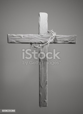 istock Crown of Thorns Hung Around the Easter Cross 3D Rendering 659635066