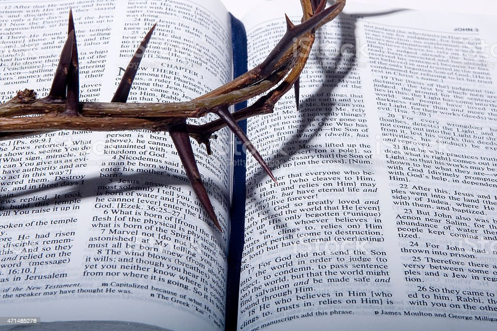 crown of thorns on a bible stock photo