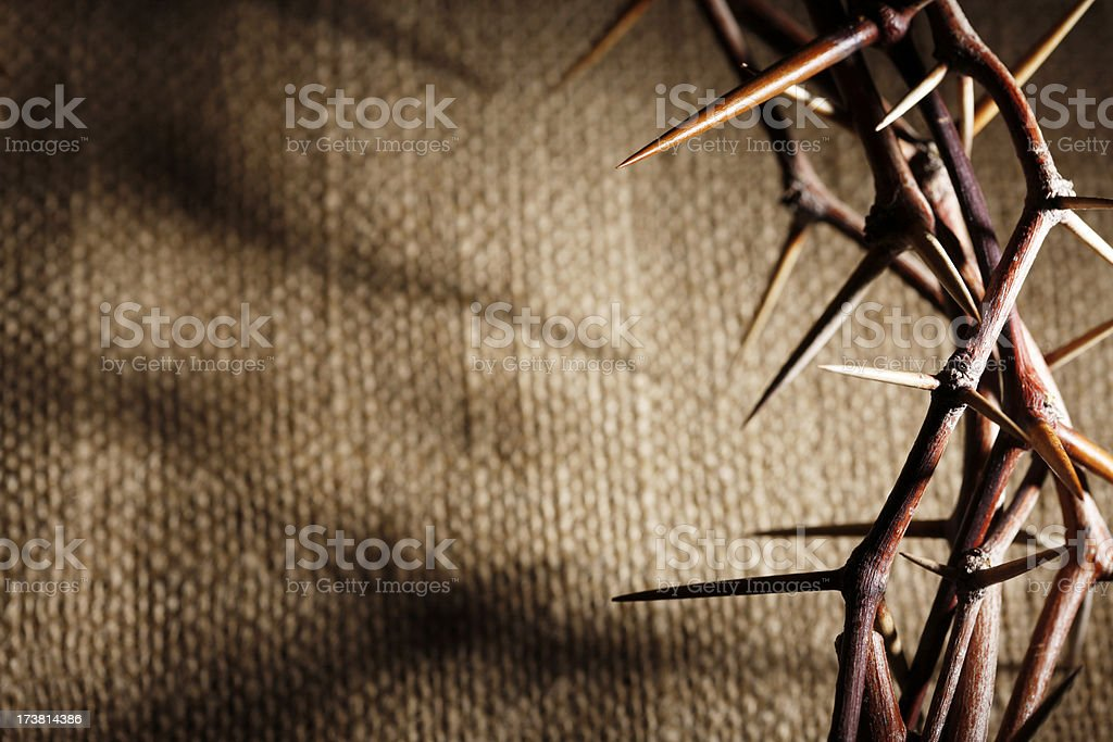 Crown of Thorns on a Burlap Background royalty-free stock photo