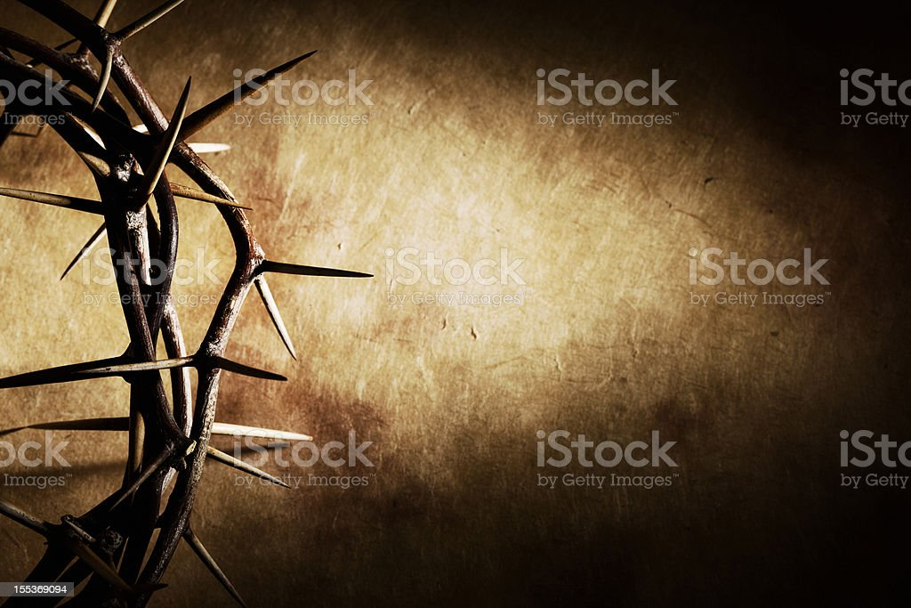 Crown of Thorns on Grunge Background stock photo