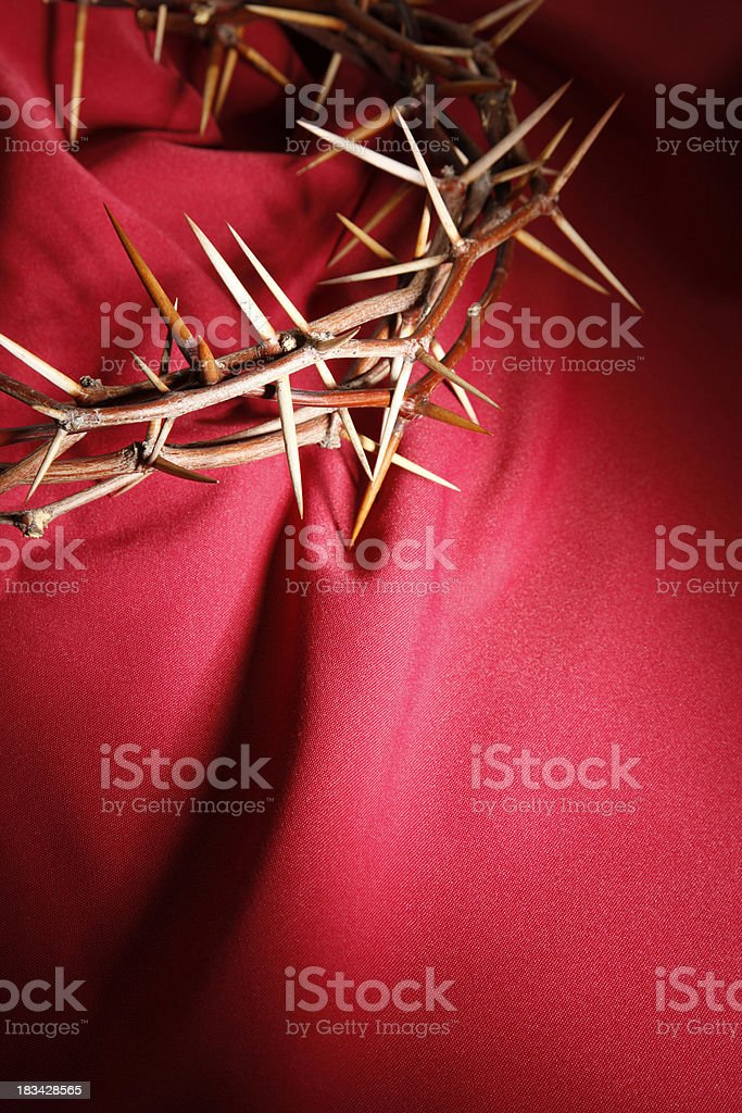 Crown of Thorns on Red Background royalty-free stock photo