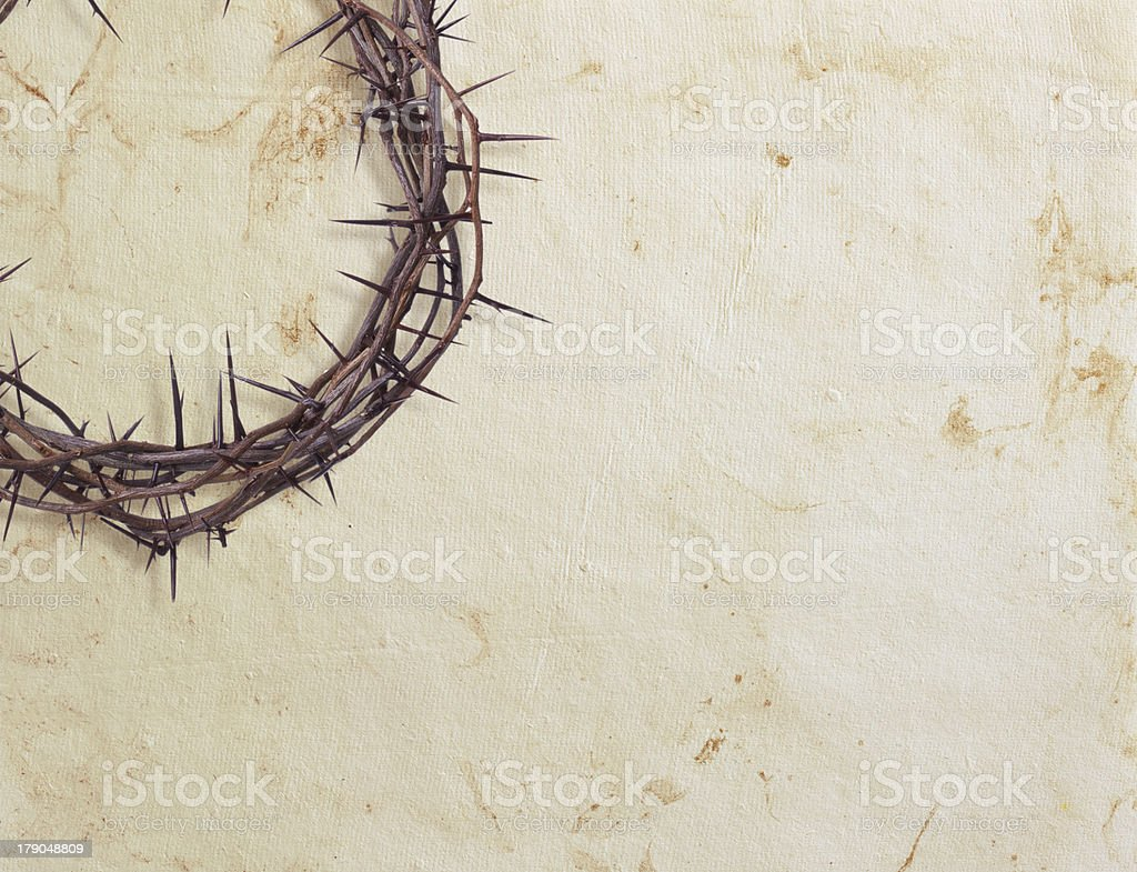 Crown of thorns on textured background stock photo
