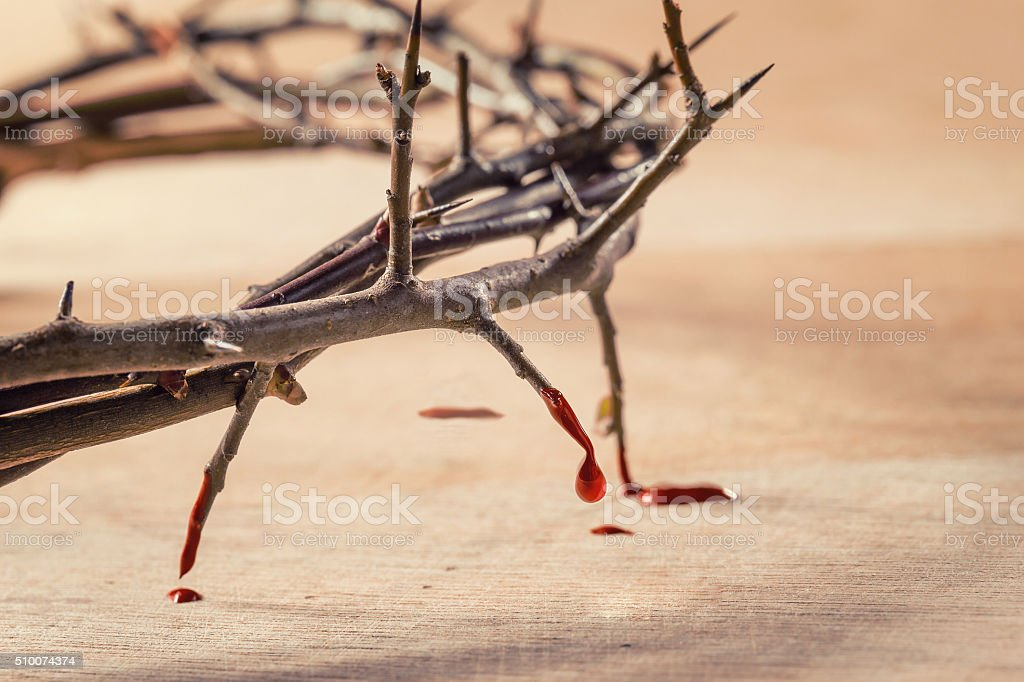Crown of thorns with blood dripping. stock photo