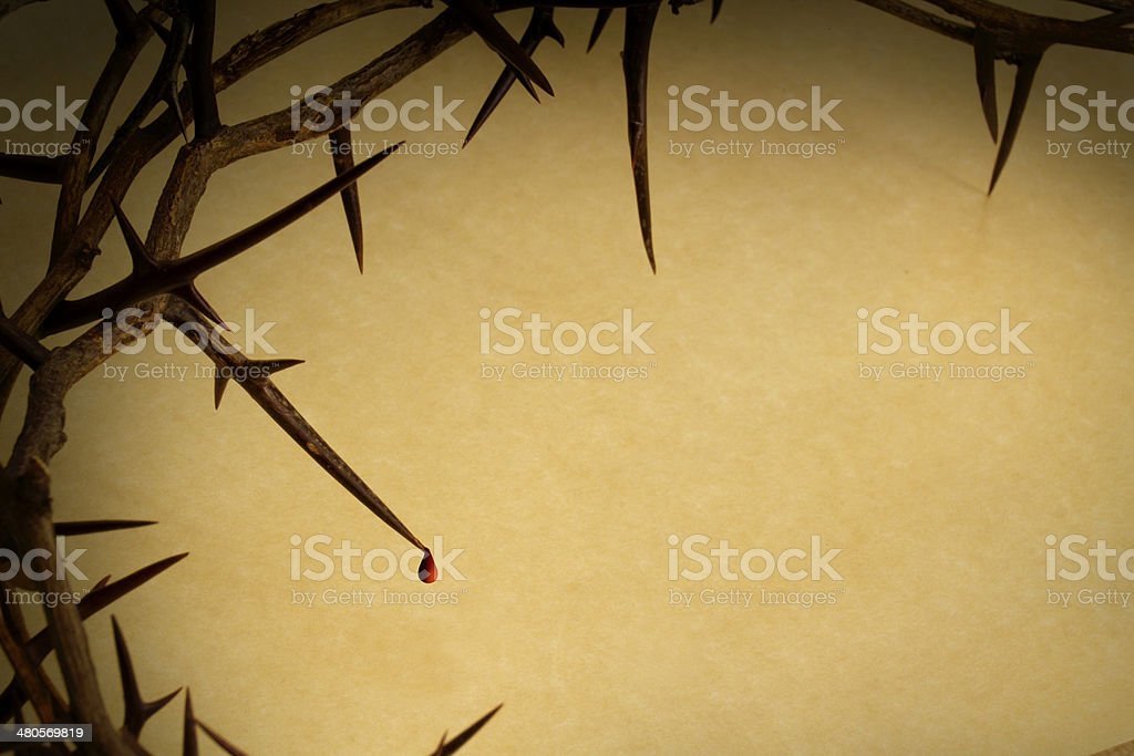 Crown Of Thorns With Blood Drop Represents Jesus Crucifixion stock photo
