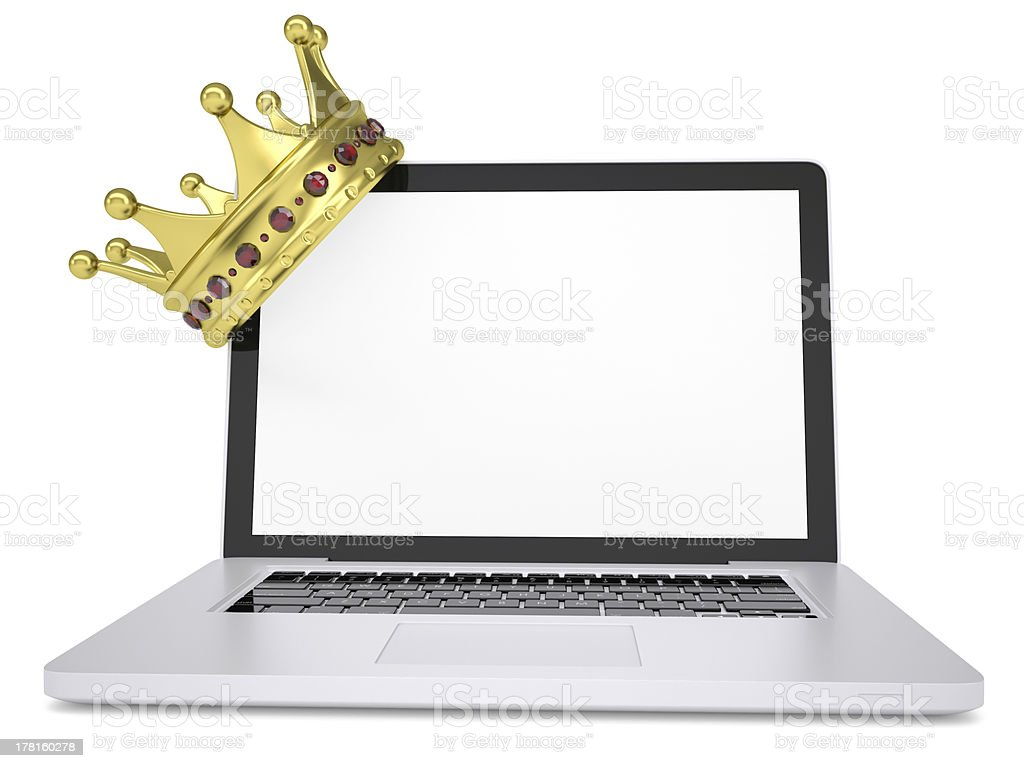 Crown on laptop Crown on laptop. Isolated render on a white background Blank Stock Photo