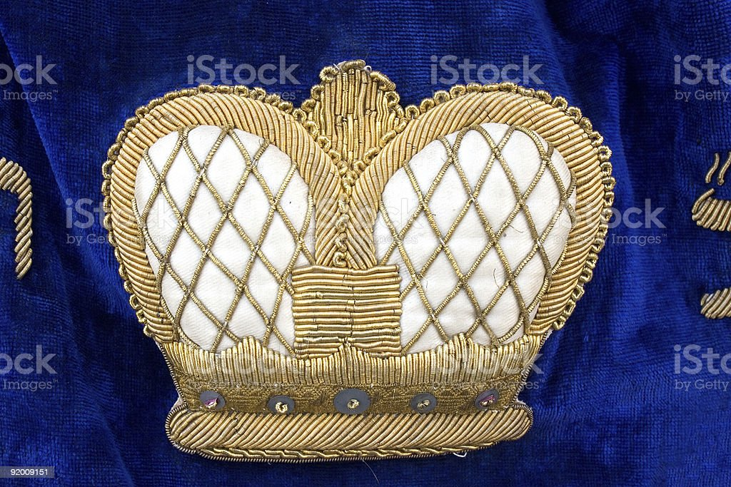 Crown on vintage colorful Torah Ark Curtain royalty-free stock photo