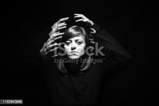 Movement of light. Portrait of a young woman