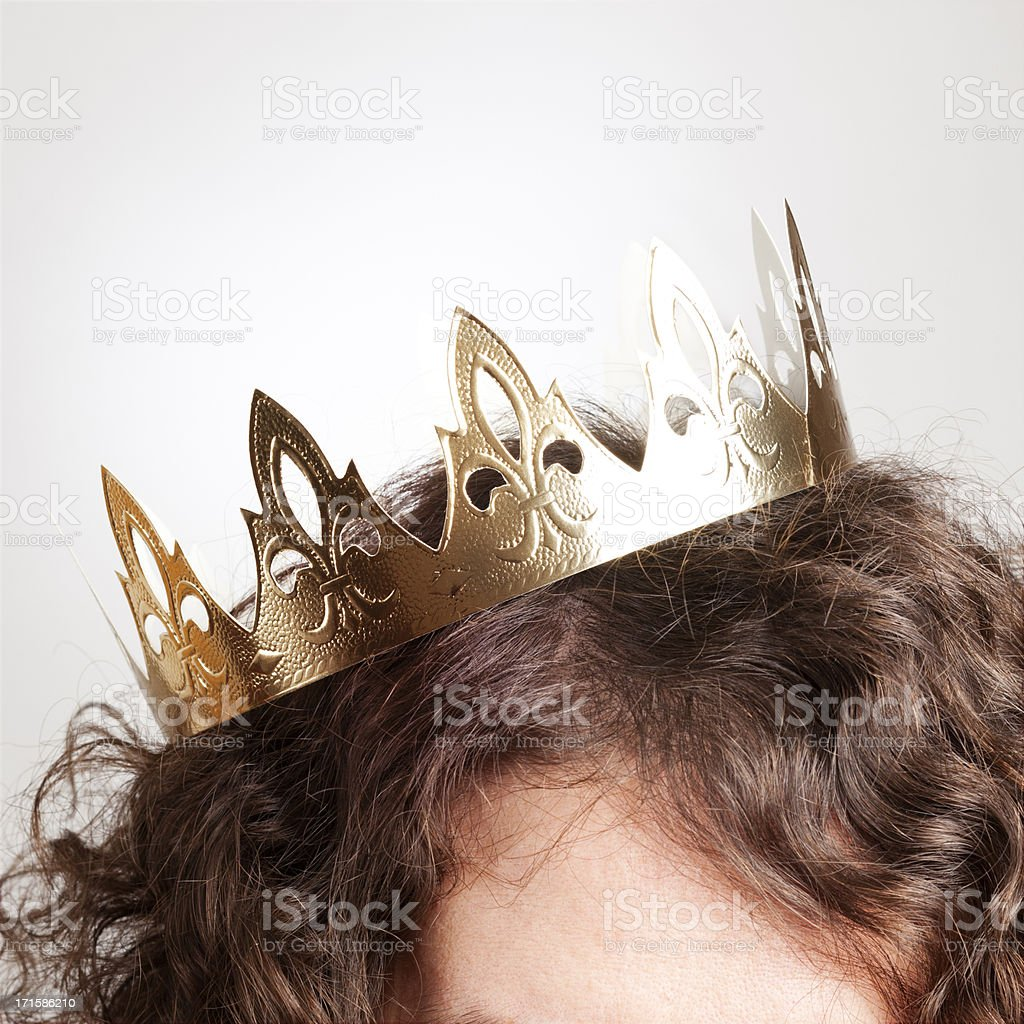 Crown Head with cardboard crown Adult Stock Photo