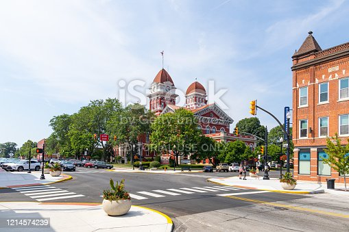 Crown Point, Indiana, USA - July 27, 2019: The Crown Point Courthouse Square Historic District, is listed in The National Register of Historic Places