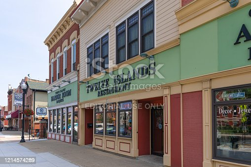 Crown Point, Indiana, USA - July 27, 2019: The shops around the old Courthouse at the Historic District