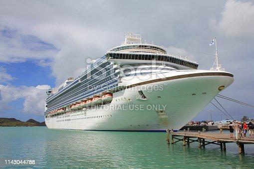 istock Crown Princess cruise ship anchored in St John's, Antigua and Barbuda, Caribbean. 1143044788