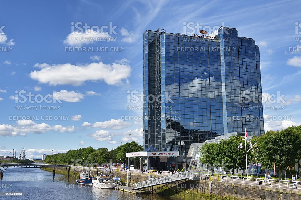 Crowne Plaza hotel and the river Clyde, Glasgow, Scotland stock photo
