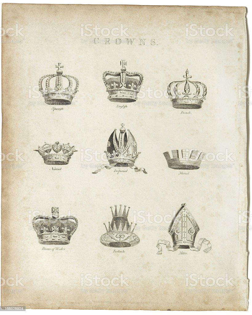 Crowns, Copper Plate, 1812 stock photo