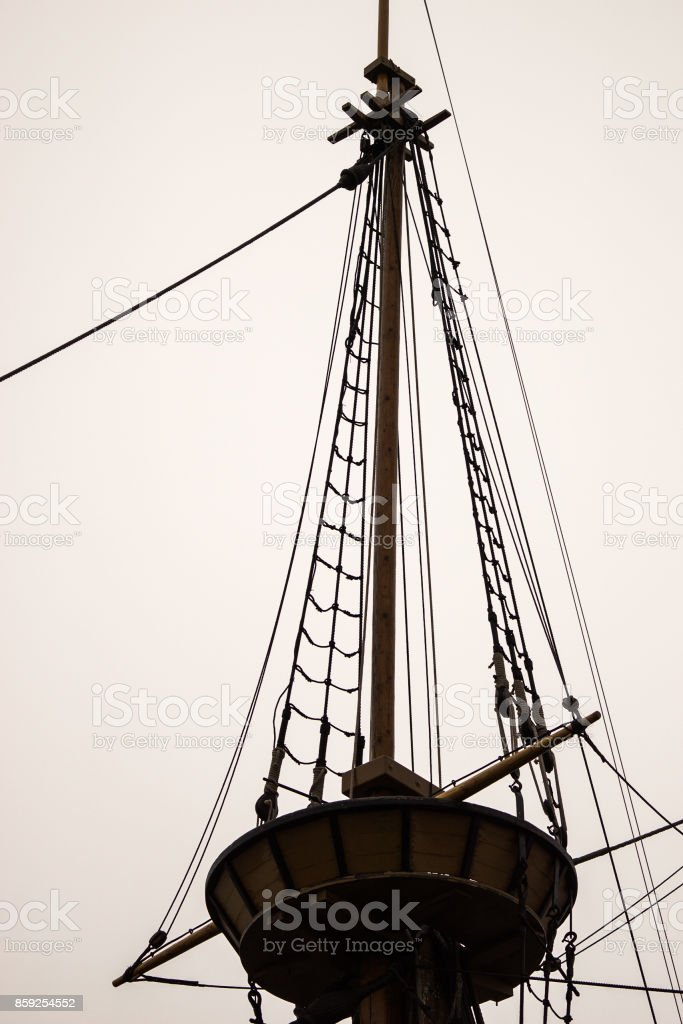 crow's nest and rigging of an old sailing vessel stock photo