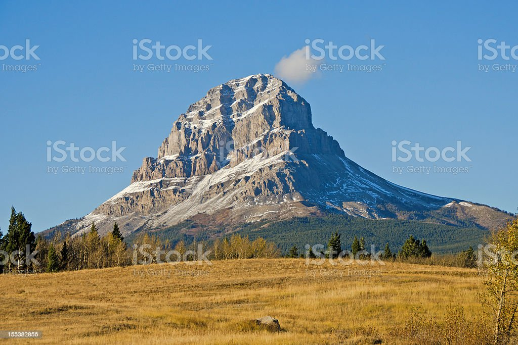 Crowsnest Mountain in Fall stock photo
