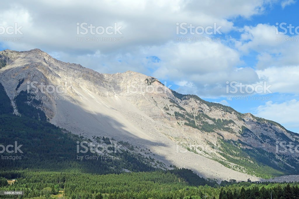 Crowsnest Pass and Frank Slide in summer looking west stock photo