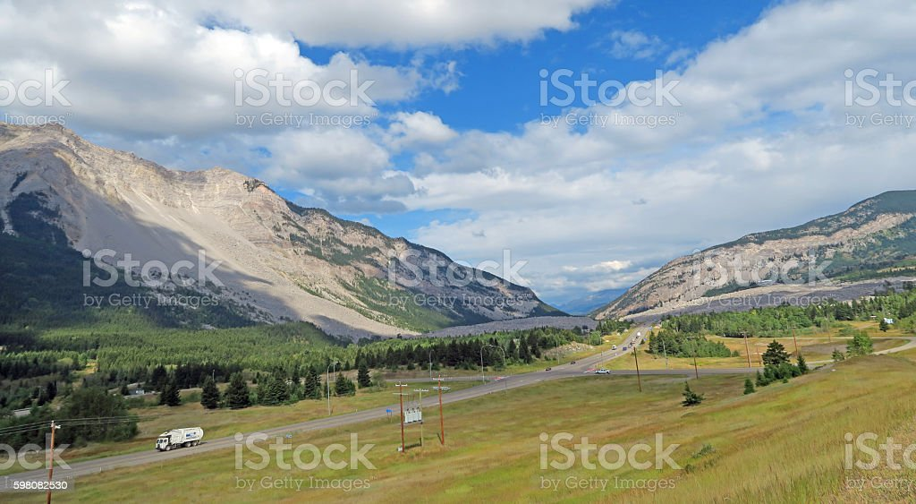 Crowsnest Pass and Frank Slide with Trans Canada Highway- August stock photo