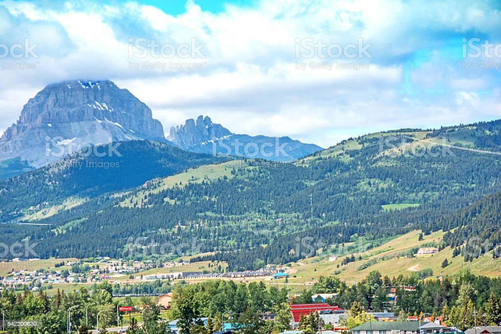 Crowsnest Pass, Blairmore, Coleman and Crownest Mountain- summer stock photo