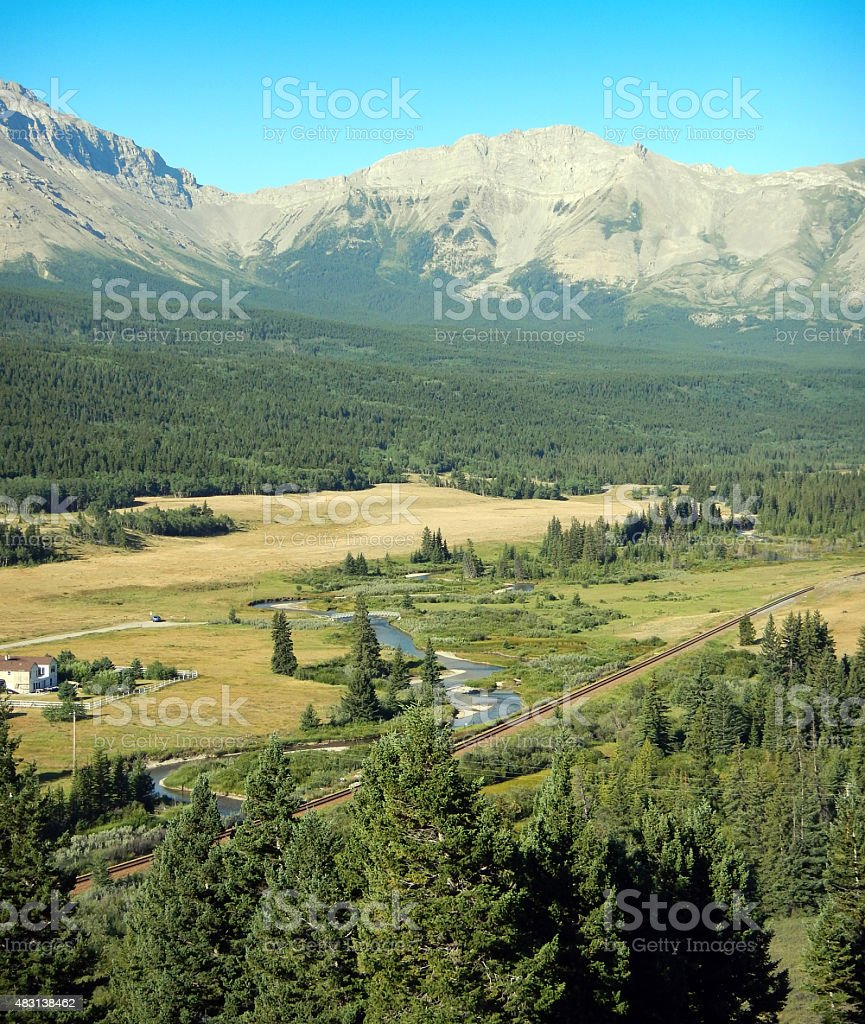 Crowsnest River  and Rocky Mountains from above- summer stock photo
