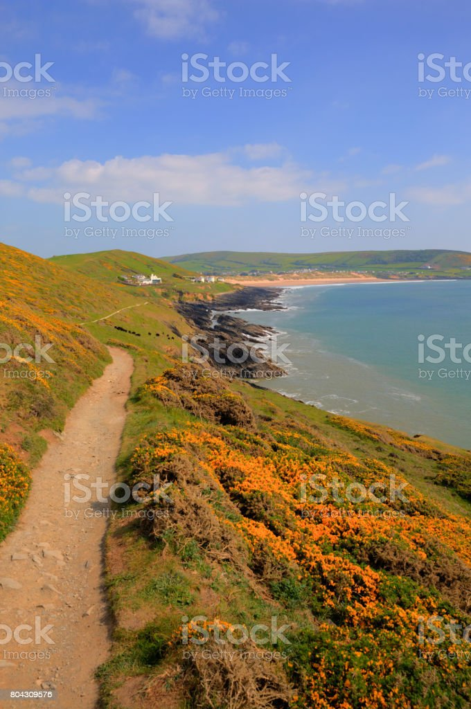 Croyde Devon coast path from the direction of Woolacombe stock photo