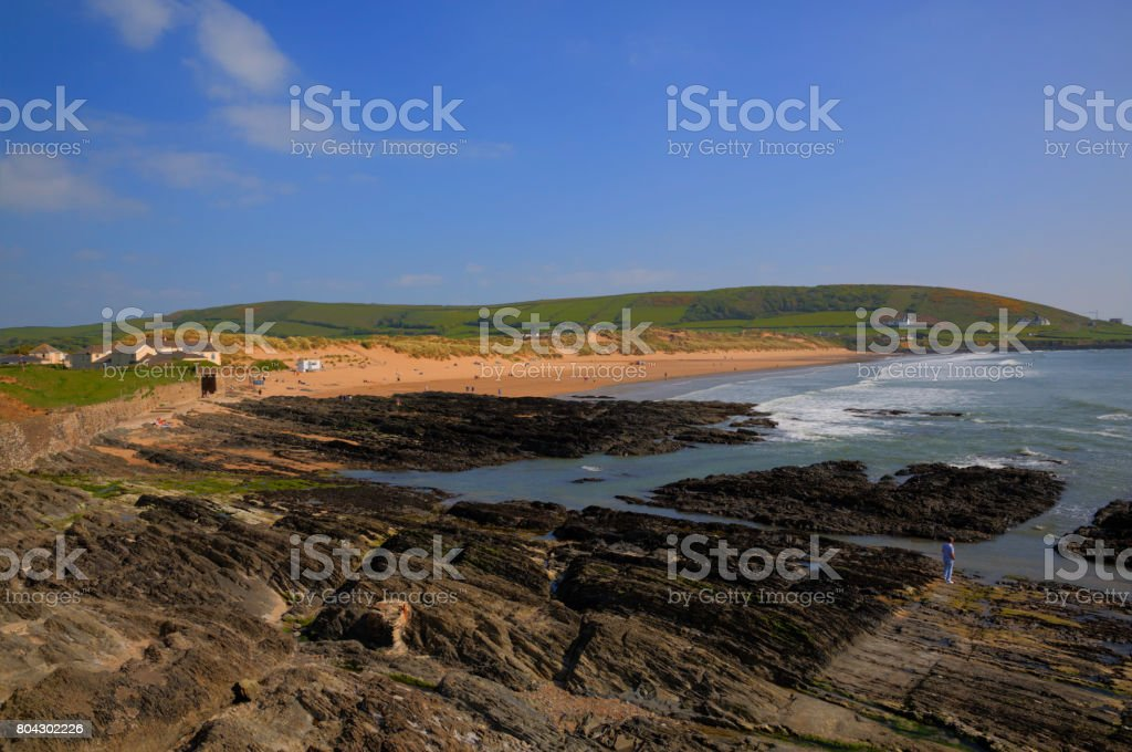 Croyde Devon UK from rocky end of popular sandy beach stock photo