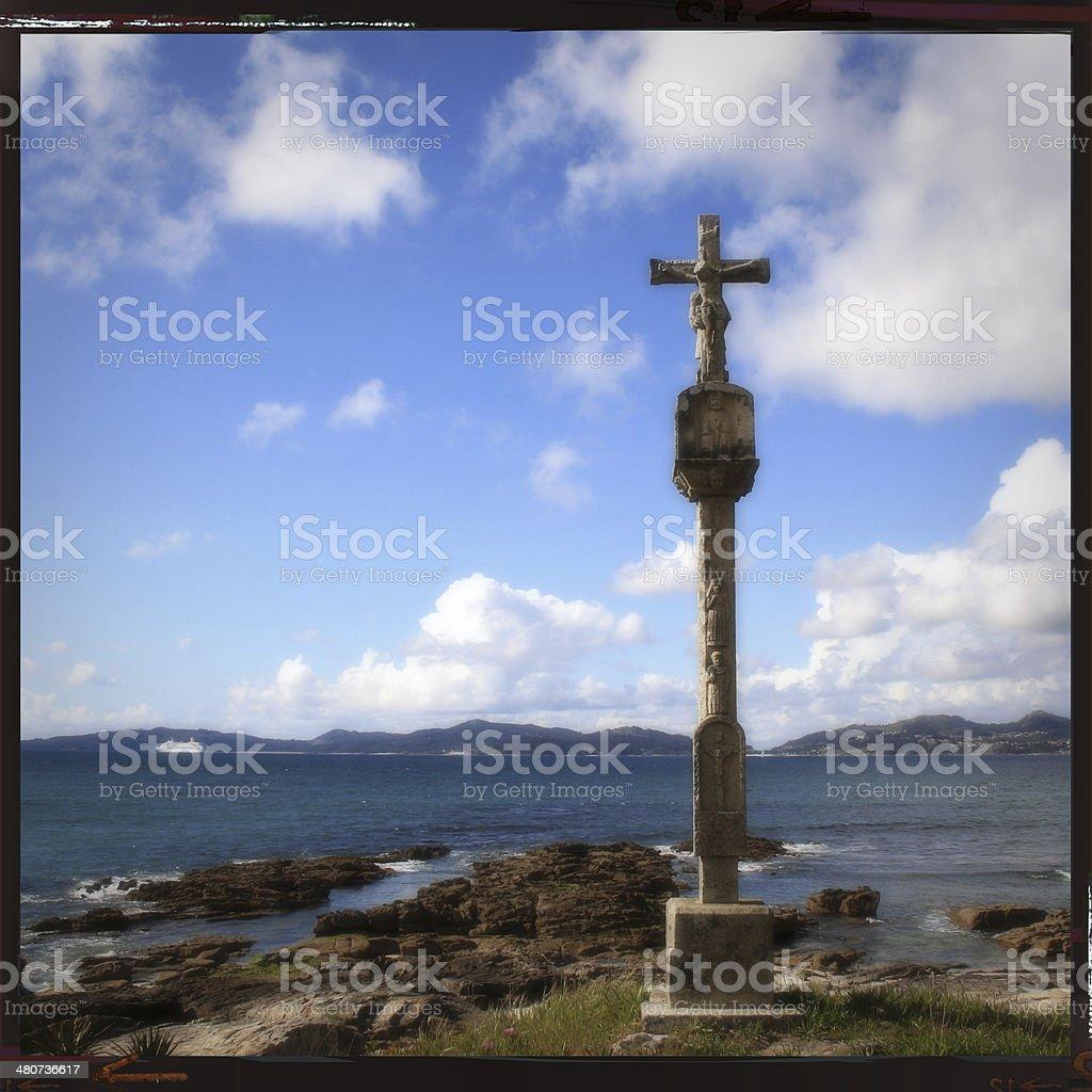 Cruceiro near Vigo at the way of St. James stock photo