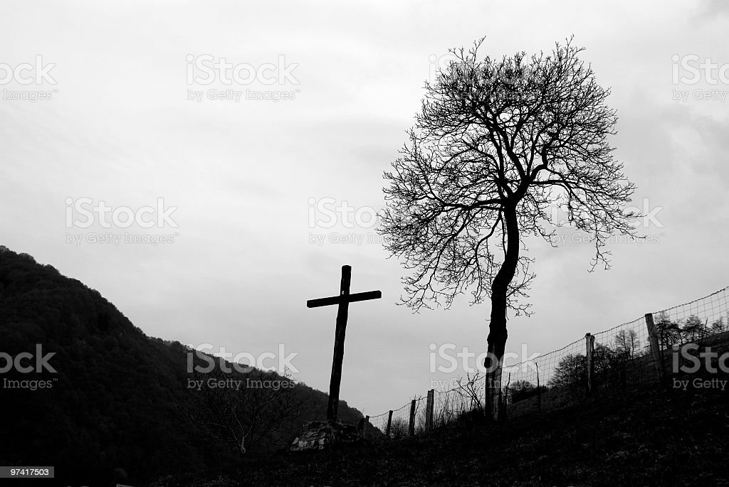 Crucifix And The Tree royalty-free stock photo
