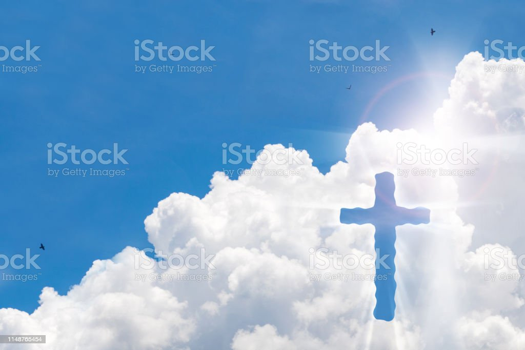 Crucifix Cross On Beautiful Sky With Sunbeam Holy Cross Of Jesus Christ On Clouds Background Stock Photo Download Image Now Istock