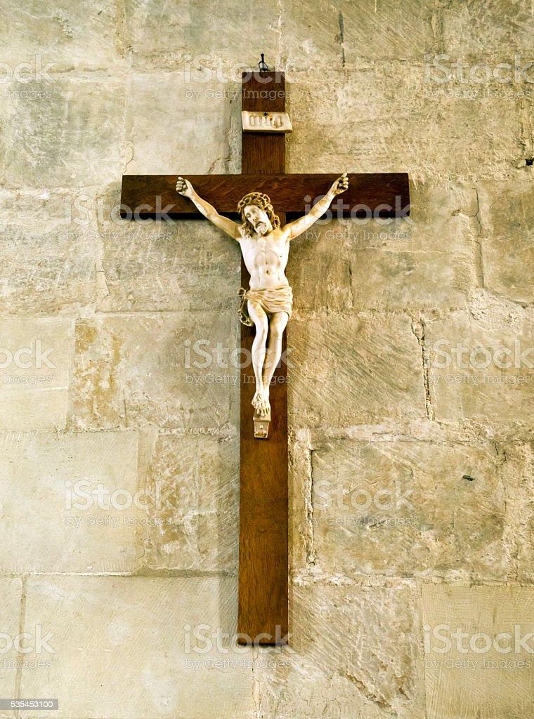 Crucifix in a church stock photo