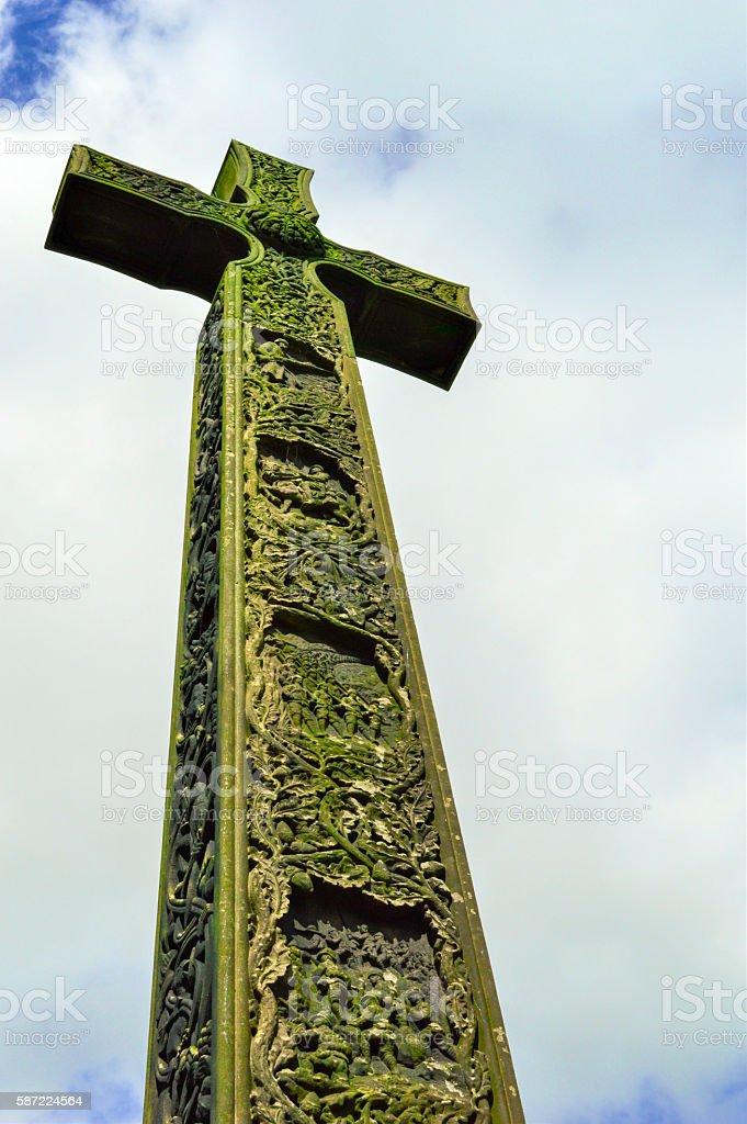 Crucifix Monument, Cloudy Sky, Landscape, Durham, England stock photo
